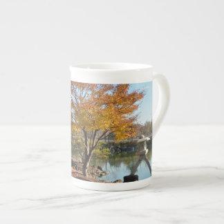 Japanese Garden.Fine porcelain mug. Tea Cup