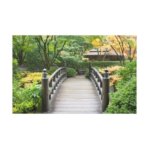 Japanese Garden in Autumn Stretched Canvas Print
