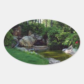 Japanese garden ornamental oval sticker