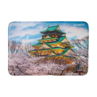 Japanese Garden Pagoda And Sakura In Osaka, Japan Bath Mat