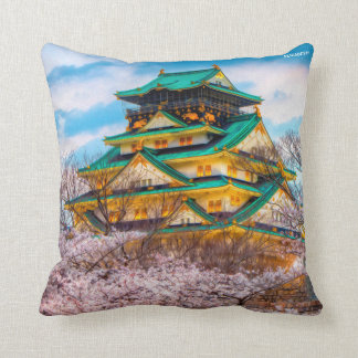 Japanese Garden Pagoda And Sakura In Osaka, Japan Cushion