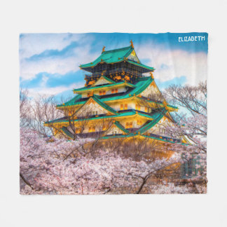 Japanese Garden Pagoda And Sakura In Osaka, Japan Fleece Blanket
