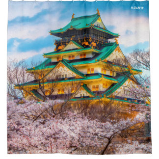 Japanese Garden Pagoda And Sakura In Osaka, Japan Shower Curtain