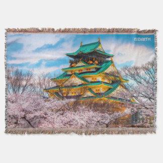 Japanese Garden Pagoda And Sakura In Osaka, Japan Throw Blanket