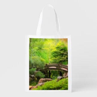 Japanese Garden - Water under the bridge Reusable Grocery Bag