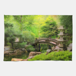 Japanese Garden - Water under the bridge Tea Towel