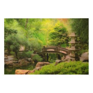 Japanese Garden - Water under the bridge Wood Wall Art