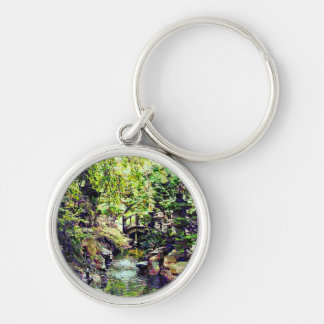 Japanese Garden With Bridge and Stream Key Ring