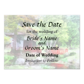 "Japanese Garden With Red Bridge Save the Date 5"" X 7"" Invitation Card"