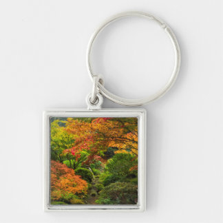 Japanese Gardens In Autumn In Portland, Oregon 2 Key Ring