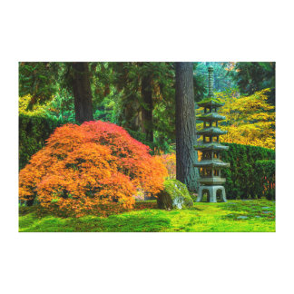 Japanese Gardens In Autumn In Portland, Oregon Canvas Prints