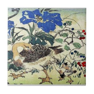 Japanese Geese Woodblock Art Ukiyo-E Vintage Tile