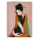 Japanese Geisha and Black Cat Greeting Card