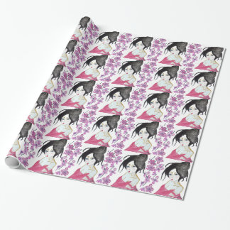 Japanese geisha animation drawing t-shirt gift wrapping paper