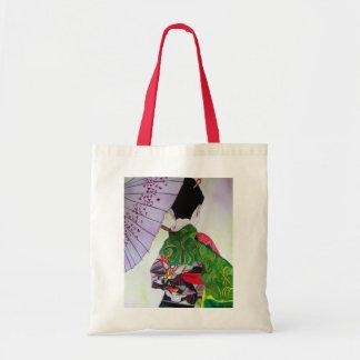 Japanese Geisha art with kimono and umbrella