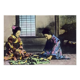 Japanese Geisha Beauties Vintage Poster