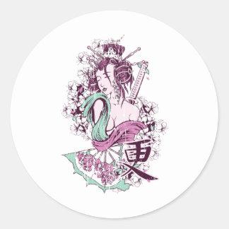 Japanese Geisha Classic Round Sticker