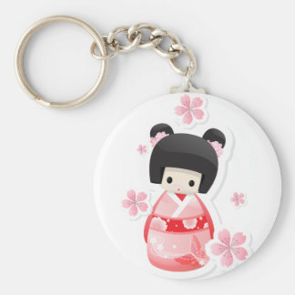Japanese Geisha Doll - buns series Basic Round Button Key Ring