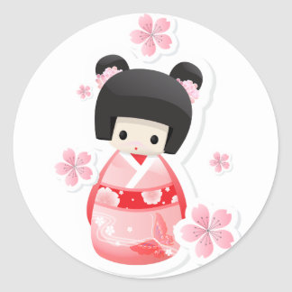 Japanese Geisha Doll - buns series Round Sticker