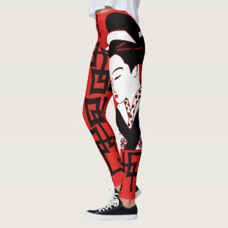 japanese geisha girl black white red graphic leggings
