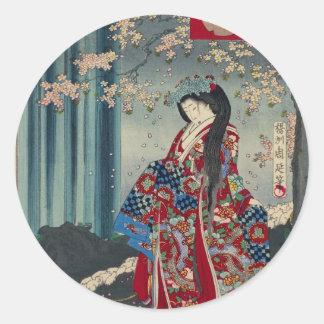 Japanese Geisha Lady Japan Art Cool Classic Classic Round Sticker