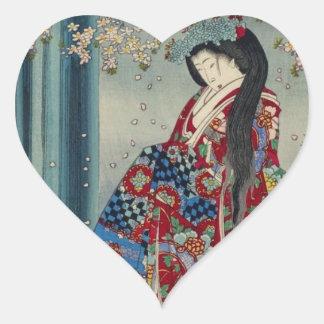 Japanese Geisha Lady Japan Art Cool Classic Heart Sticker