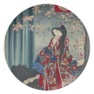 Japanese Geisha Lady Japan Art Cool Classic Plate