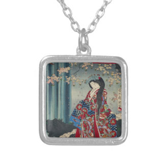 Japanese Geisha Lady Japan Art Cool Classic Silver Plated Necklace