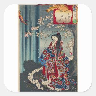 Japanese Geisha Lady Japan Art Cool Classic Square Sticker
