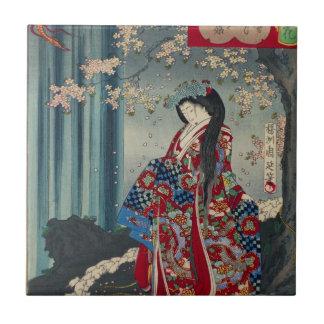 Japanese Geisha Lady Japan Art Cool Classic Tile