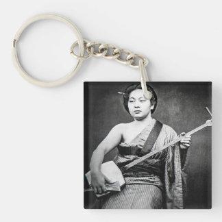 Japanese Geisha Playing Samisen Vintage Music Key Ring