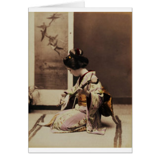 Japanese geisha playing the shamisen card