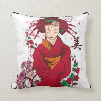 "Japanese Geisha Polyester Throw Pillow 16"" x 16"""