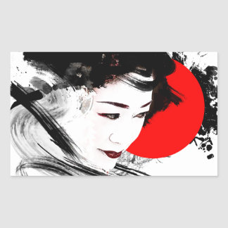 Japanese Geisha Rectangular Sticker