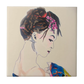 Japanese Geisha with blue kimono Ceramic Tile
