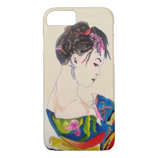 Japanese Geisha with blue kimono iPhone 8/7 Case
