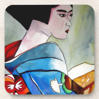 Japanese Geisha with Blue Kimono original art Coaster