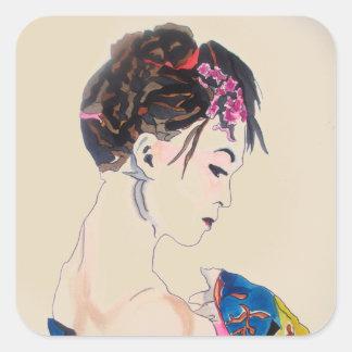 Japanese Geisha with blue kimono Square Sticker