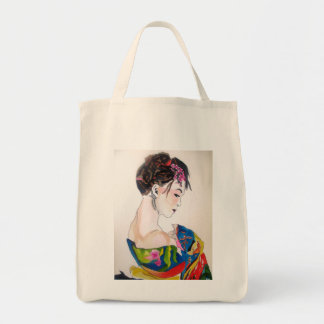 Japanese Geisha with blue kimono Tote Bag