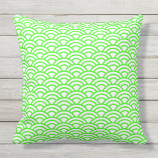 Japanese Geometric Modern Fish Scale Pattern Outdoor Cushion