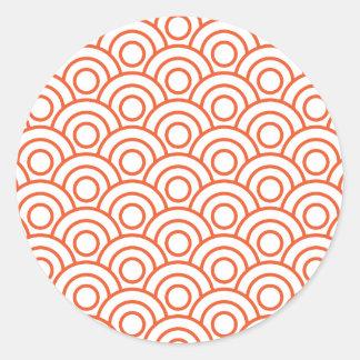 Japanese Geometric Modern Wave Pattern Classic Round Sticker