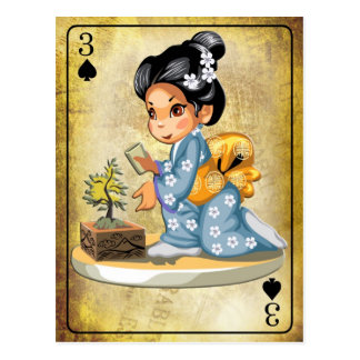 Japanese girl in kimono watering a bonsai tree postcard