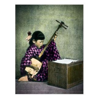 Japanese Girl Musician Shamisen Vintage Postcard