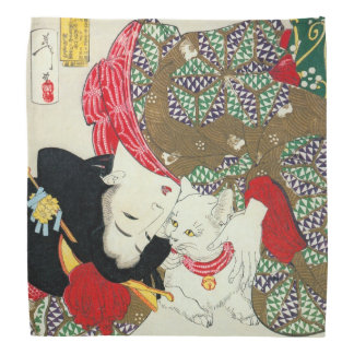 Japanese girl with Cat, Tsukioka Yoshitoshi Kerchief