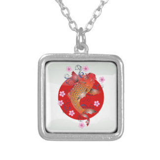 Japanese glossy flag silver plated necklace