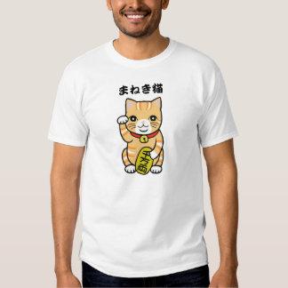 Japanese Good Luck Cat T-shirt Orange Maneki Neko