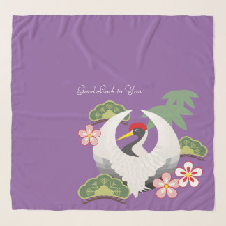 Japanese Good Luck Symbols Celebration Purple Scarf