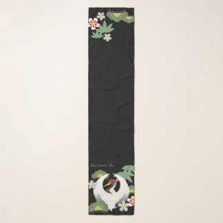 Japanese Good Luck Symbols White Crane Bird Black Scarf