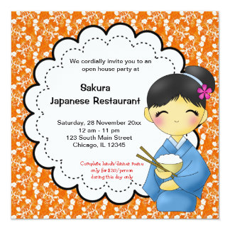 """Japanese Grand Opening 5.25"""" Square Invitation Card"""