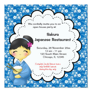Japanese Grand Opening 5.25x5.25 Square Paper Invitation Card